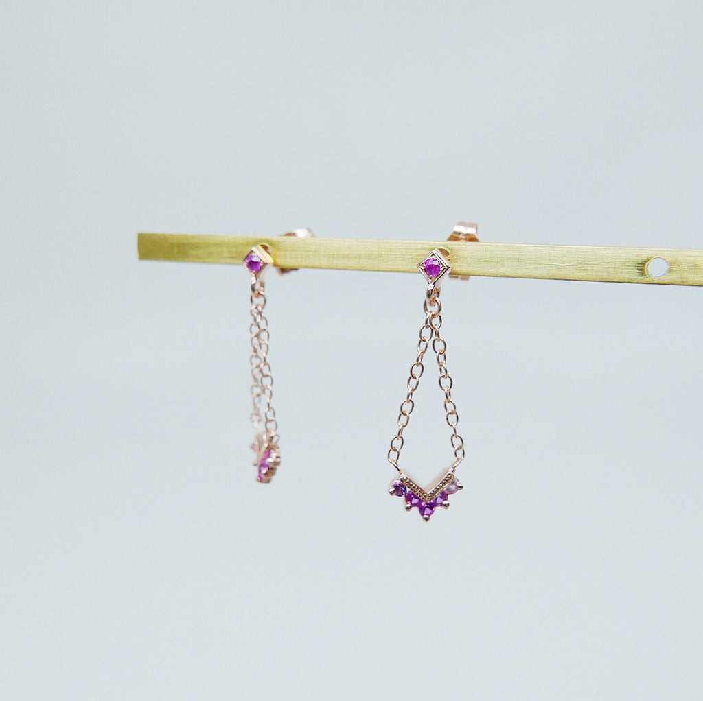 Chevron Pink Sapphire Ombre Block Earrings, Chain Earrings, Drop Earrings, Pink Sapphire Earrings, Chevron Earrings, Dangle Earrings