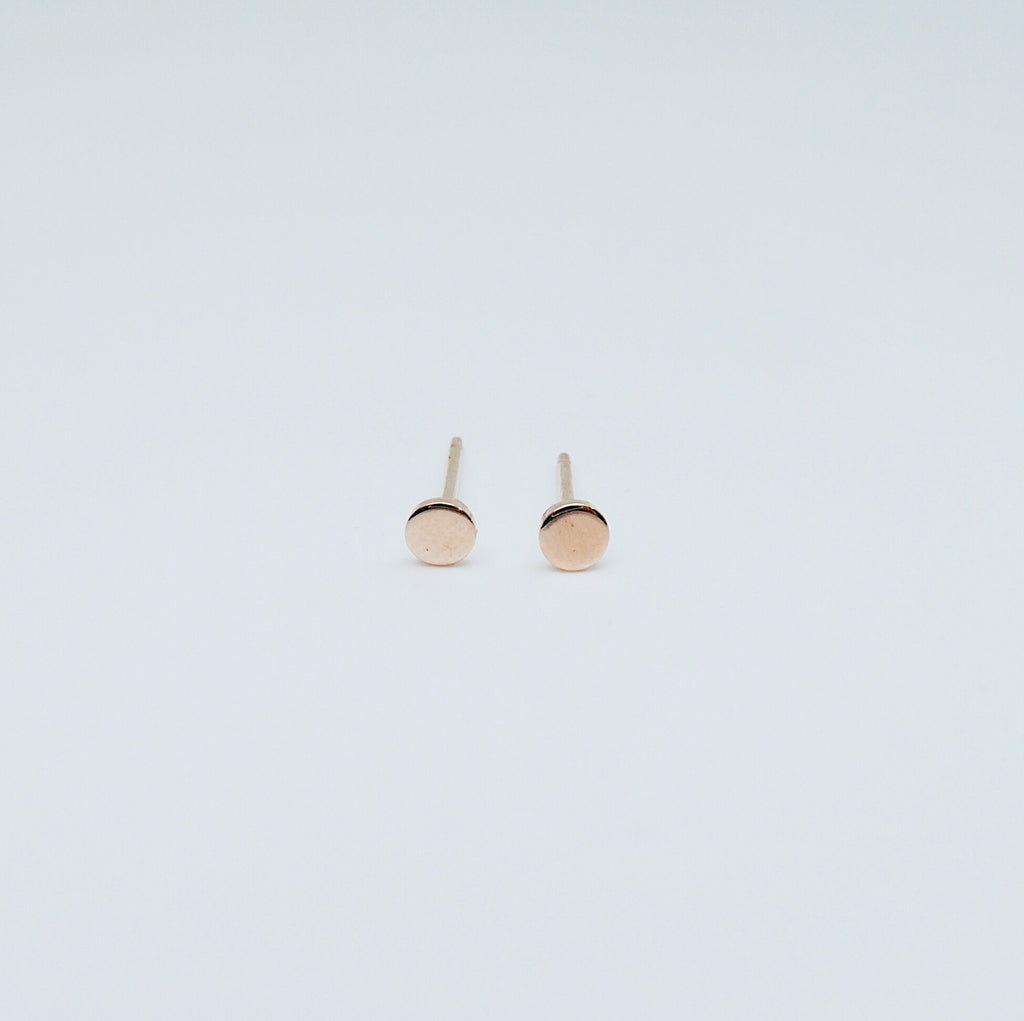 Dot Stud Earrings Small, 14k Gold Dot Stud Earrings, 14k Gold Post Earrings, Disc Stud Earrings
