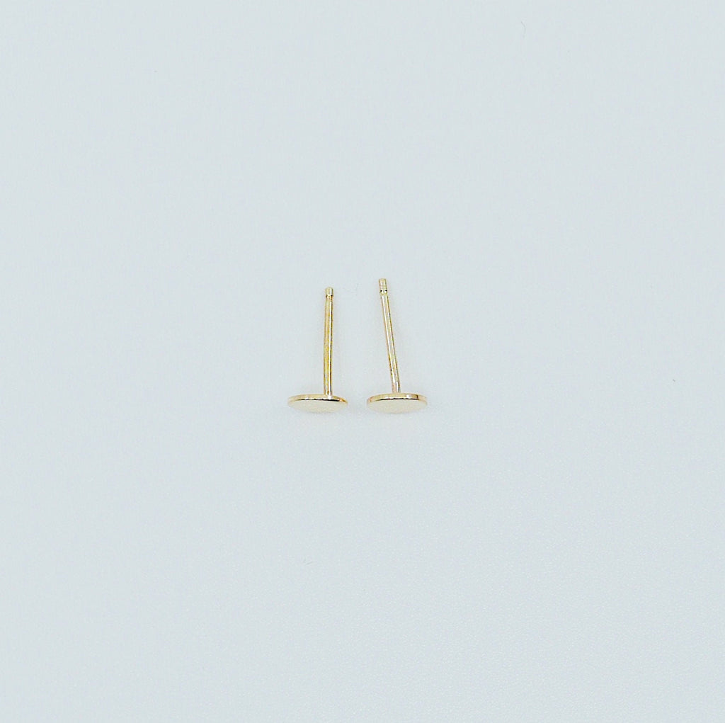 Dot Stud Earrings Large, 14k Gold Dot Stud Earrings, 14k Gold Post Earrings, Disc Stud Earrings