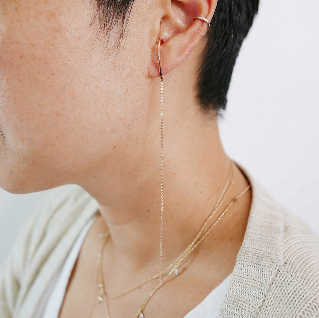 Long Chain Ear Cuff Earring, Sterling Silver Long Chain Earring, Gold Filled Long Chain Earring, Gold Filled Ear Cuff