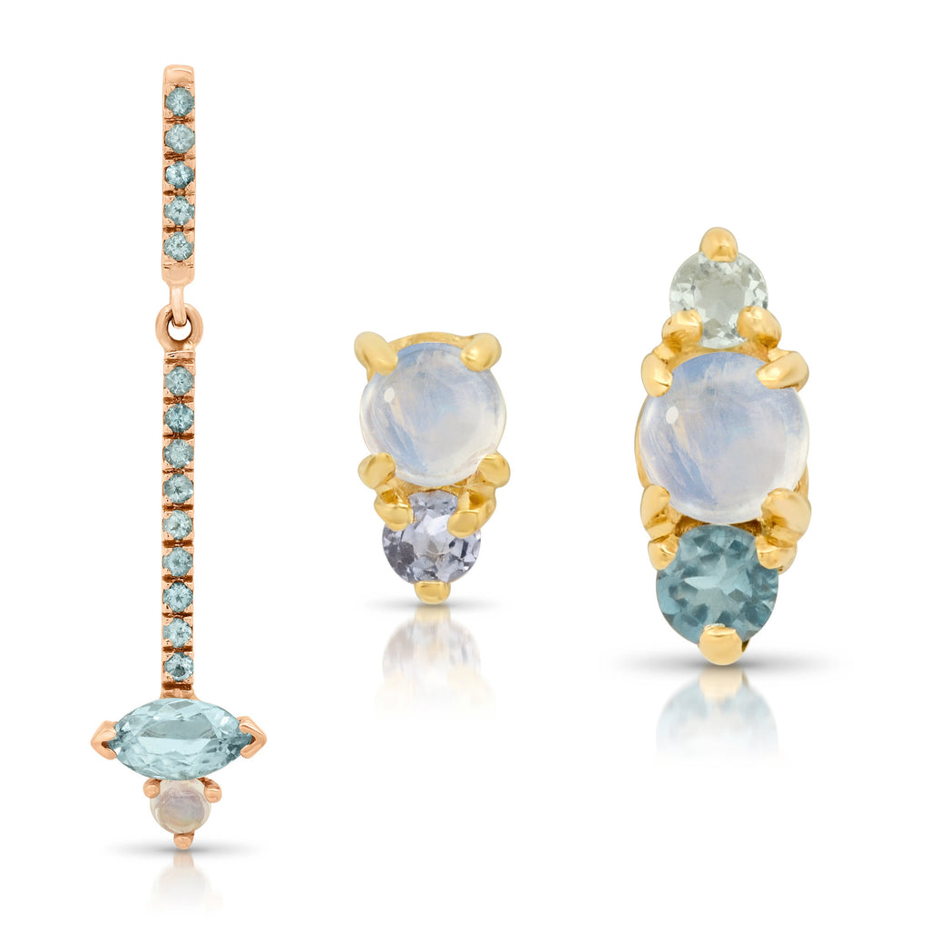 Trio Moonstone Earring, Aquamarine and Amethyst Post, Aquamarine and Blue Topaz Post, Mini Moonstone Earrings, three stone earring