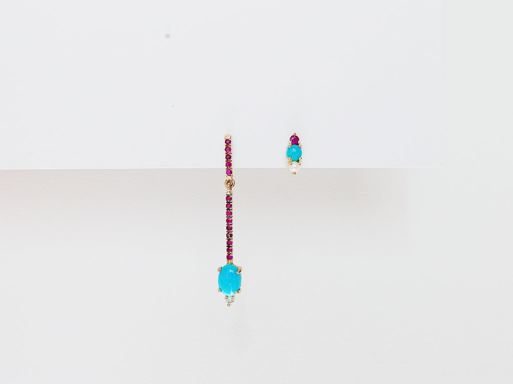 Sticks and Stones Oval Duo Earring, 14k Gold Turquoise and Diamond Bar Earring, 14k Gold Ruby Dangle Earring