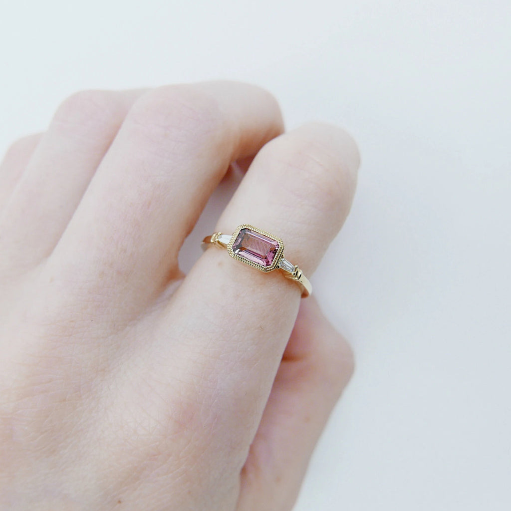 Maggey Pink Tourmaline Ring, 14k Stacking ring, Diamond and tourmaline ring, Tourmaline ring, Diamond ring, Vintage inspired ring