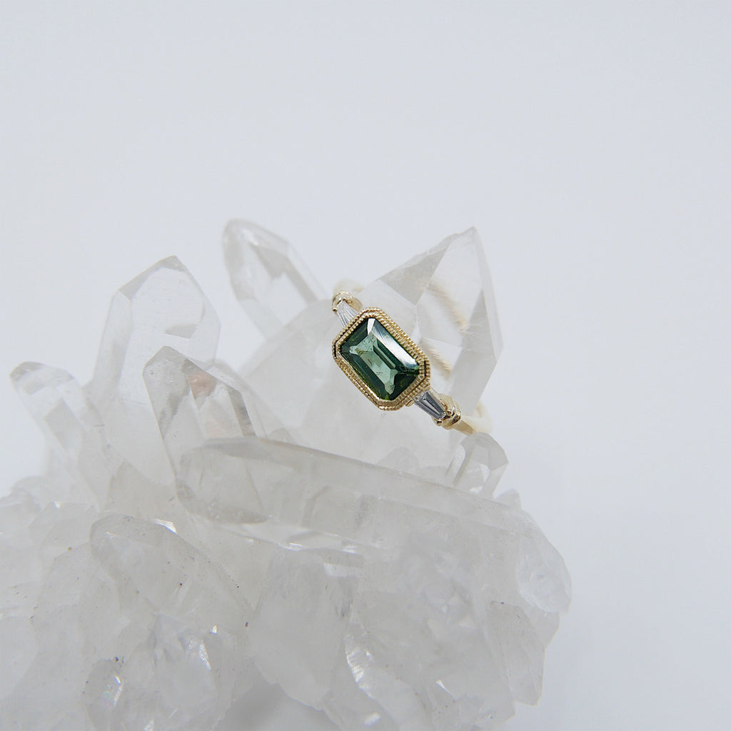 Maggey Green Tourmaline Ring, 14k Stacking ring, Diamond and tourmaline ring, Tourmaline ring, Diamond ring, Vintage inspired ring