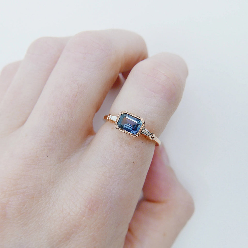 Maggey Blue Sapphire Ring, 14k Stacking ring, Diamond and Sapphire ring, Sapphire ring, Diamond ring, Vintage inspired ring