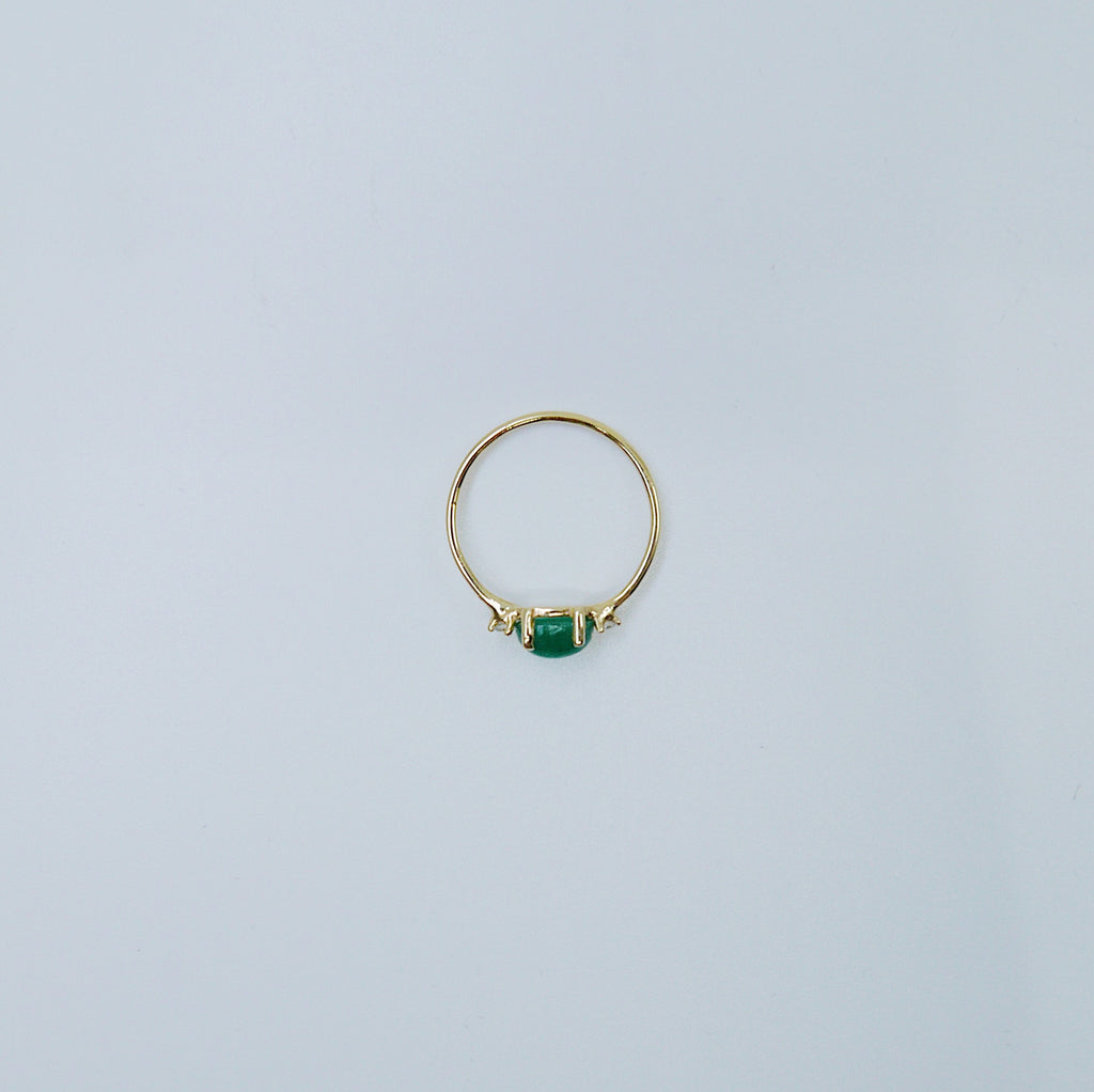 Oval Emerald ring, three stone ring, emerald and diamond ring, 14k gold emerald ring, emerald cabochon