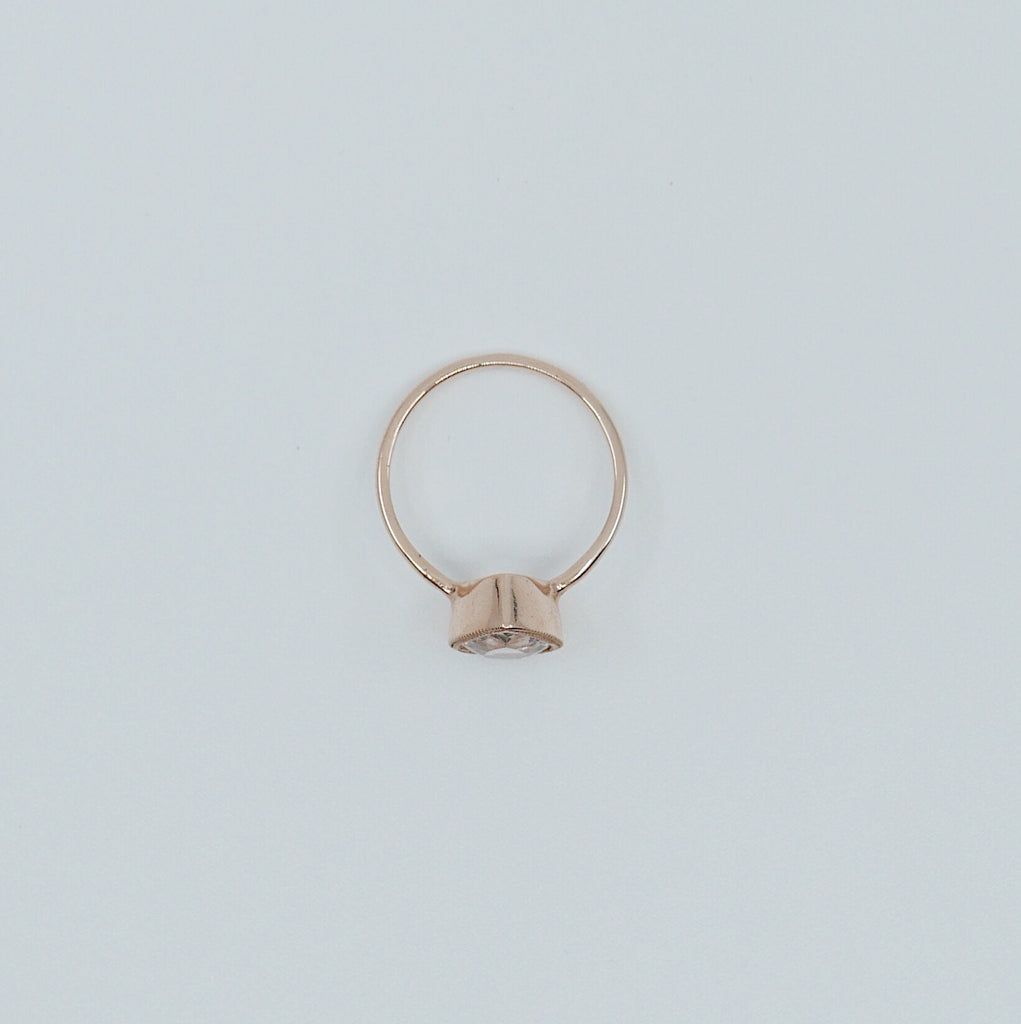 Pear morganite bezel ring, Morganite ring, gold solitaire ring, pear morganite ring, 14k gold simple bezel milgrain ring