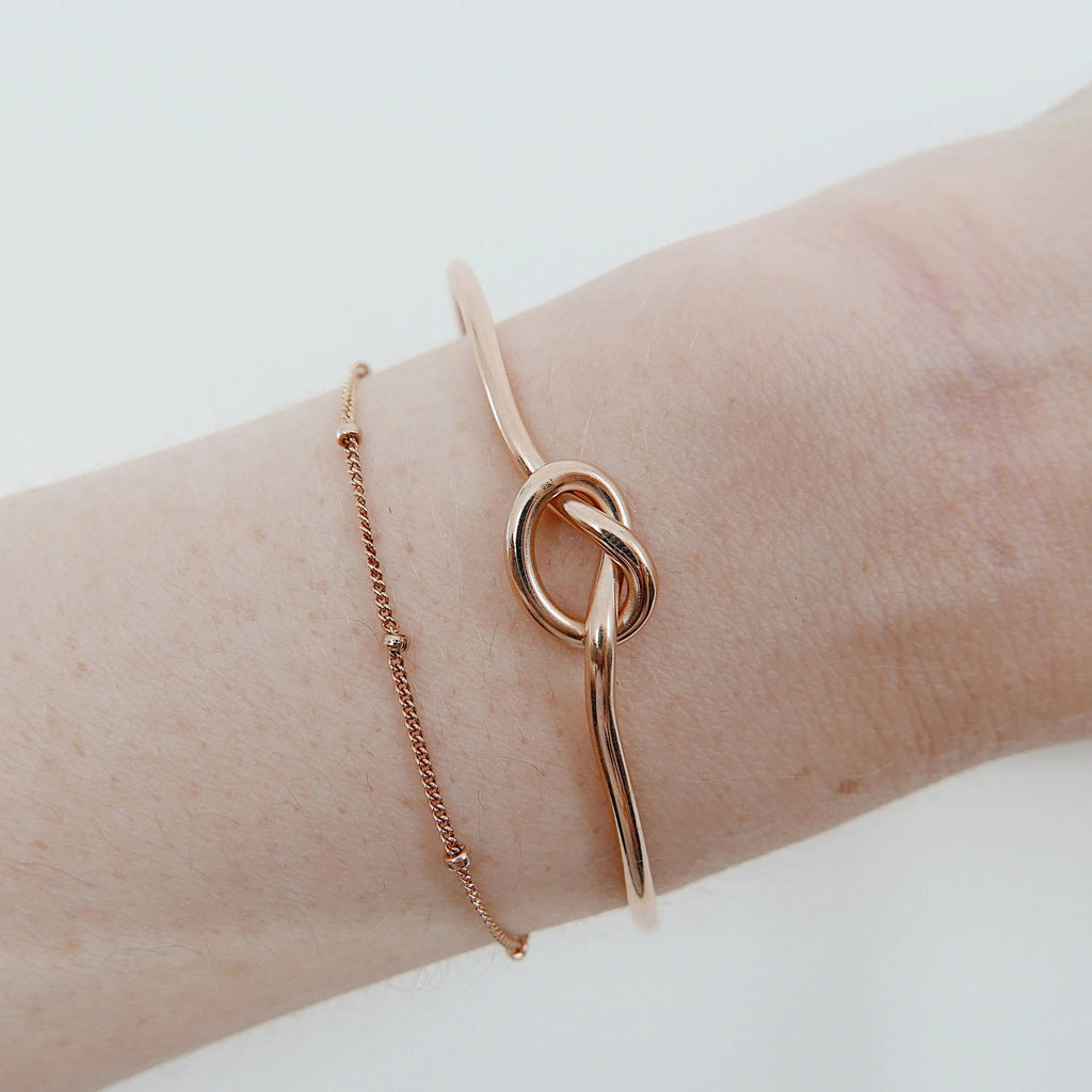 Love Knot Cuff Bracelet rose gold filled, knot bracelet, rose gold cuff, knot cuff, pretzel bracelet, love knot bangle