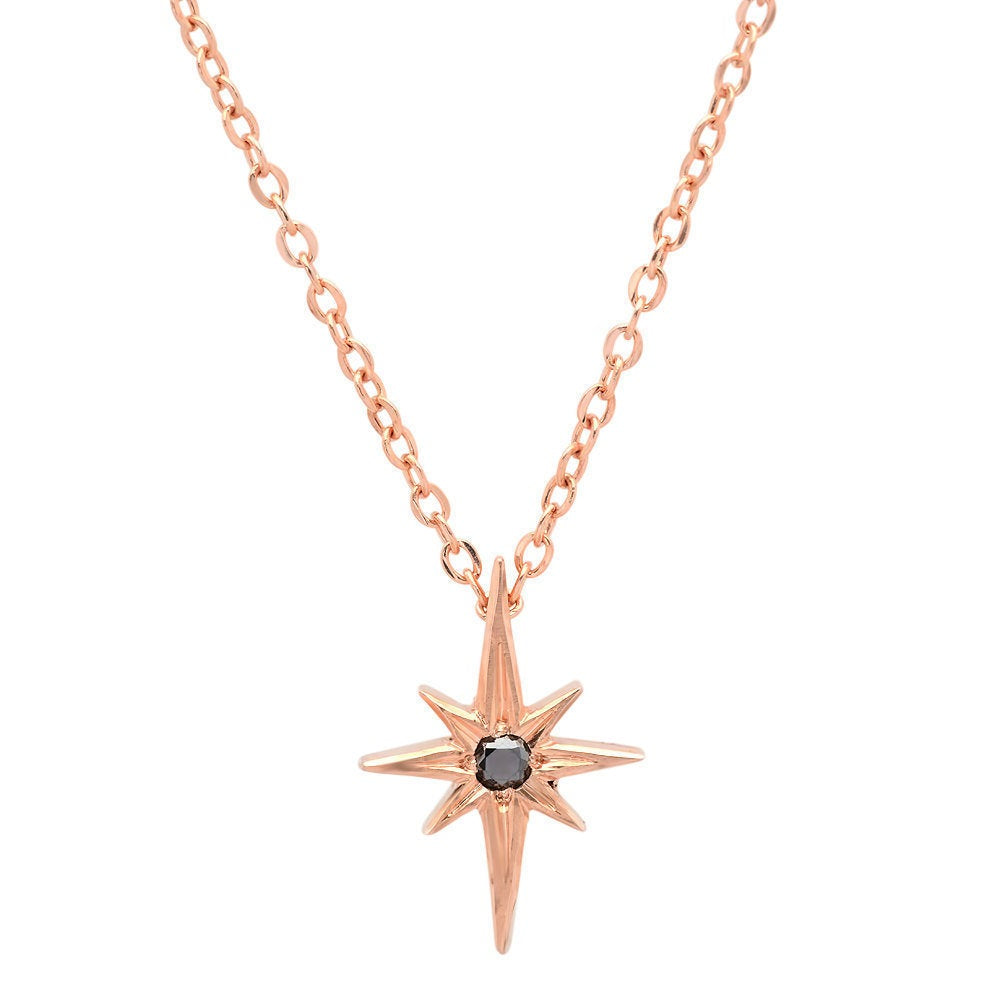 Polaris necklace, 14k star necklace, North star gold necklace, Star and diamond necklace