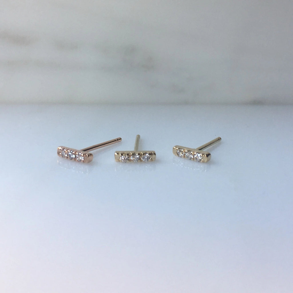 Mini diamond bar earrings, 14k Diamond bar Earrings, 3 Diamond earrings, mini gold bar Earrings, small Diamond Earrings