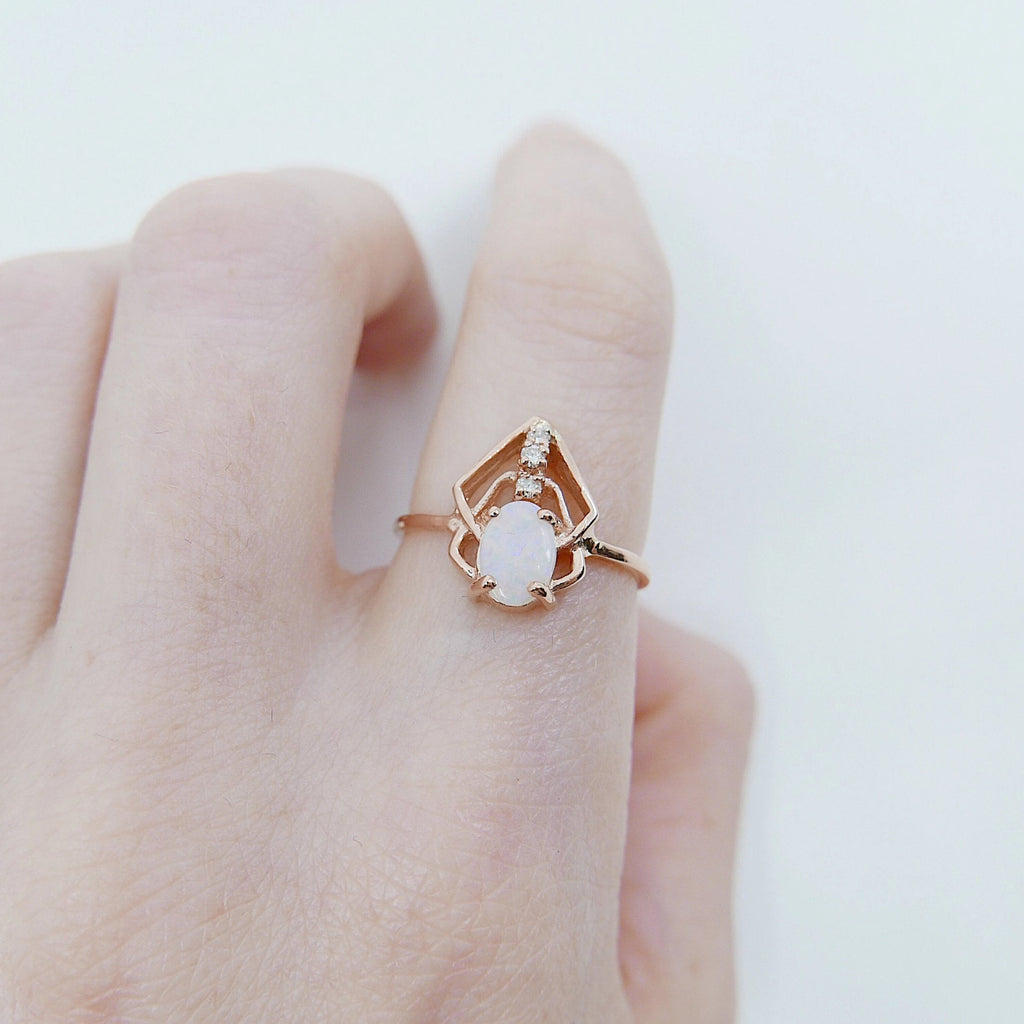 Opal Scarab ring, Oval opal diamond bugged ring, geometric opal ring, opal bug ring, opal and diamond ring, 14k gold opal ring