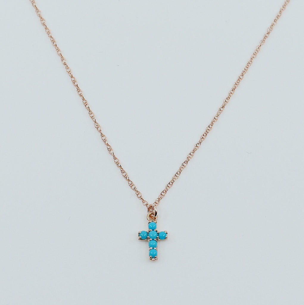 Cross Turquoise Necklace, 14k Gold Crucifix necklace, Small 14k cross necklace, Turquoise cross, Dainty gold cross necklace