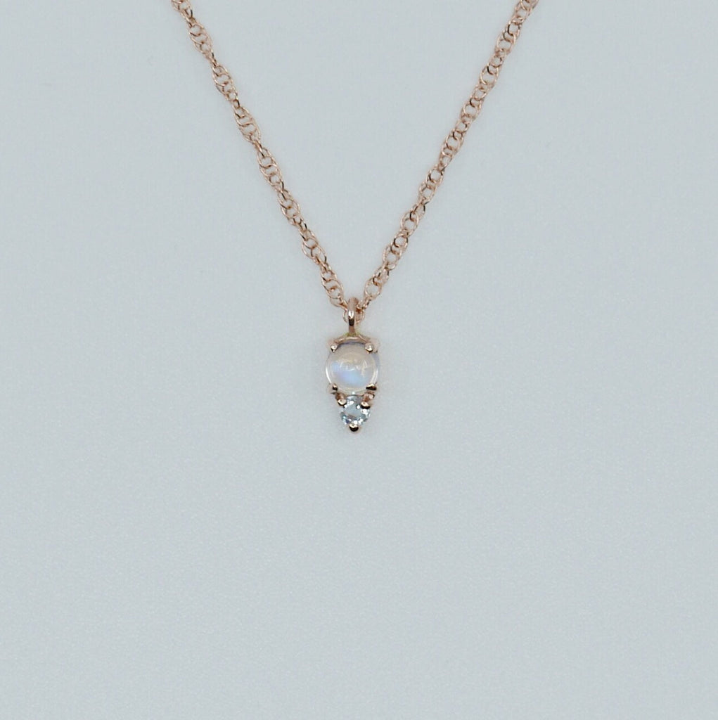 Duo Moonstone Necklace, Moonstone and Aquamarine Necklace, Mini Moonstone Necklace, Moonstone and Amethyst Necklace