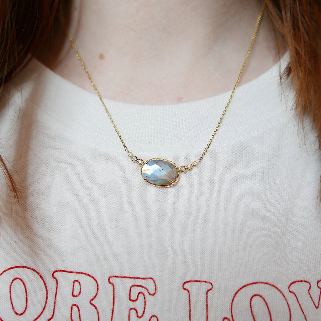 Ellipsis Labradorite and Diamond Necklace, One of a kind unique gold labradorite Necklace, blue labradorite necklace, diamond necklace