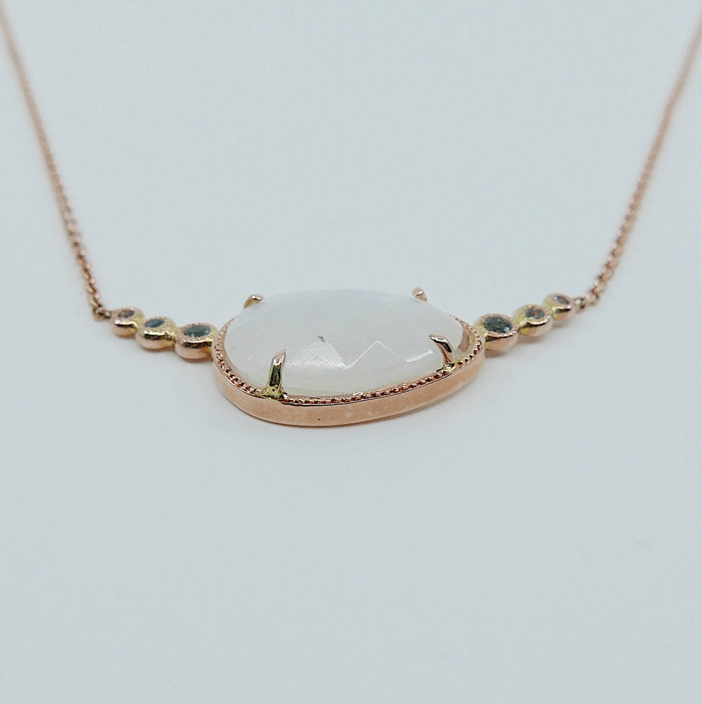 Ellipsis Moonstone and Aquamarine Necklace, One of a kind unique gold moonstone Necklace, moonstone necklace, aquamarine necklace