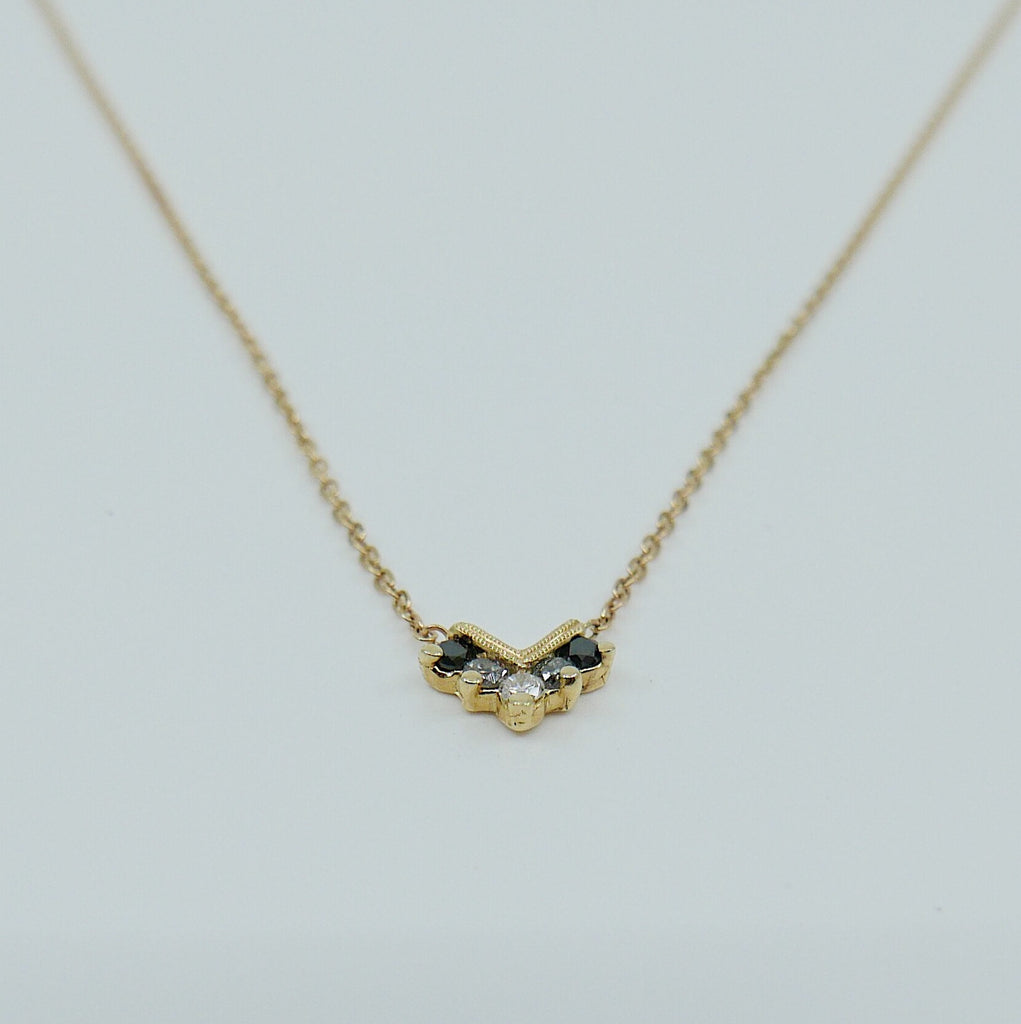 Chevron Diamond Ombre Necklace, Diamond Necklace, Chevron Necklace, 14k Gold chevron necklace, Black Diamond Necklace, Diamond Necklace
