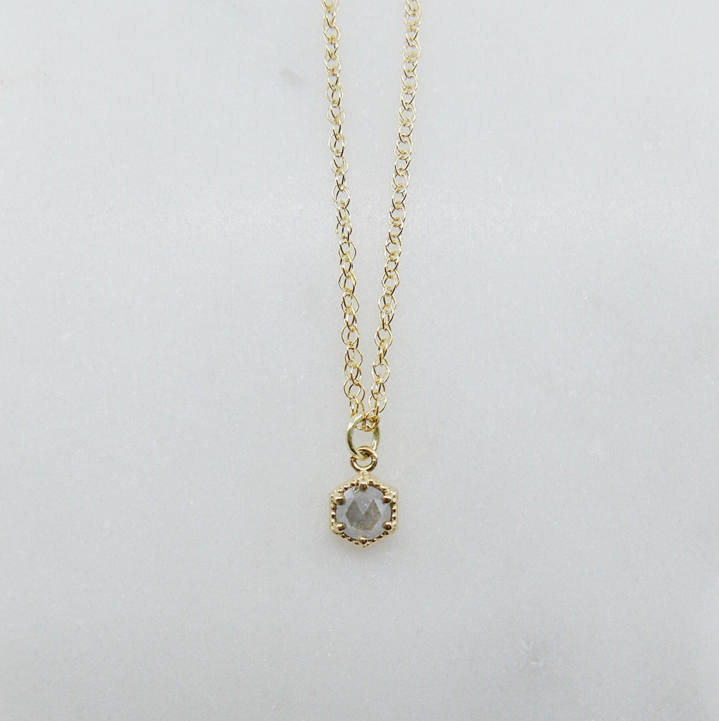 Frame Rose Cut Grey Diamond Necklace, small dainty grey diamond necklace, solitaire necklace, small grey diamond necklace