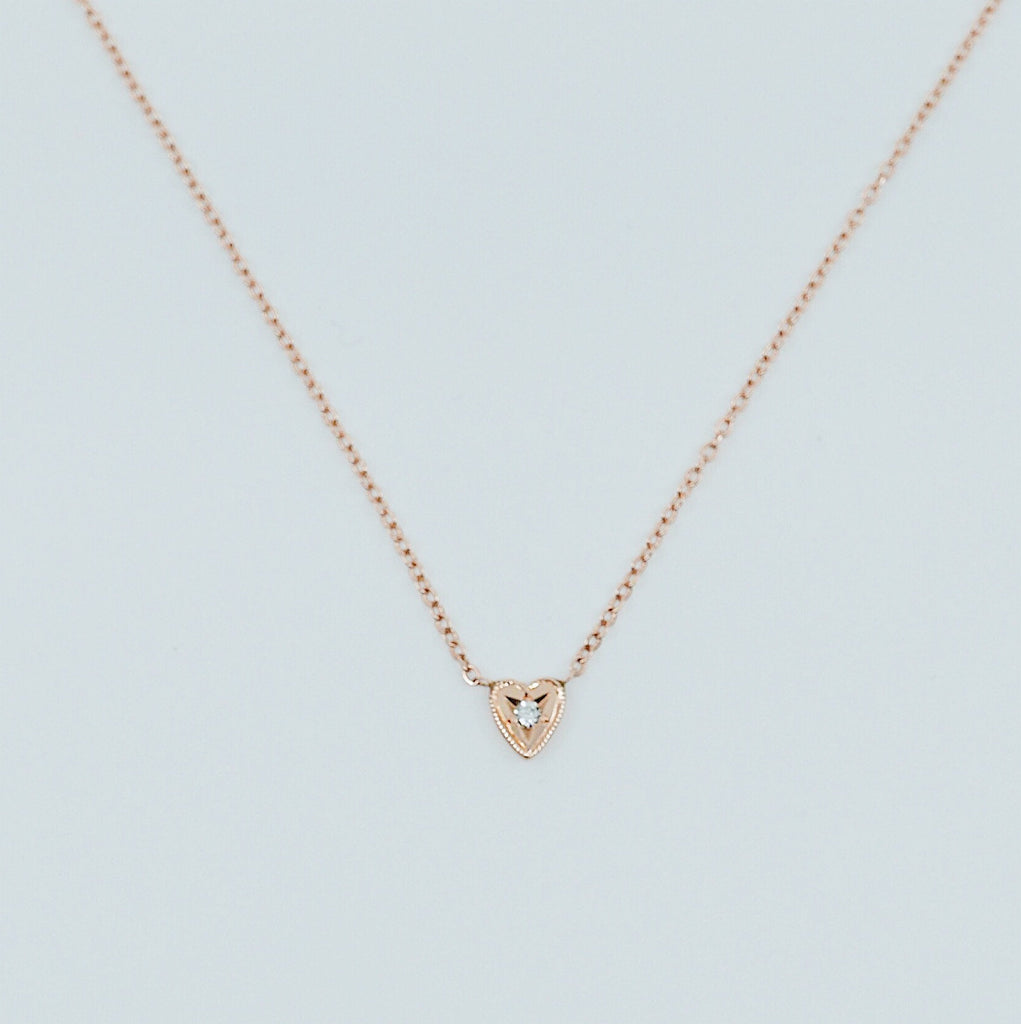 Heart Necklace Small, 14k gold heart necklace, Diamond Heart Necklace, Black Diamond Heart necklace