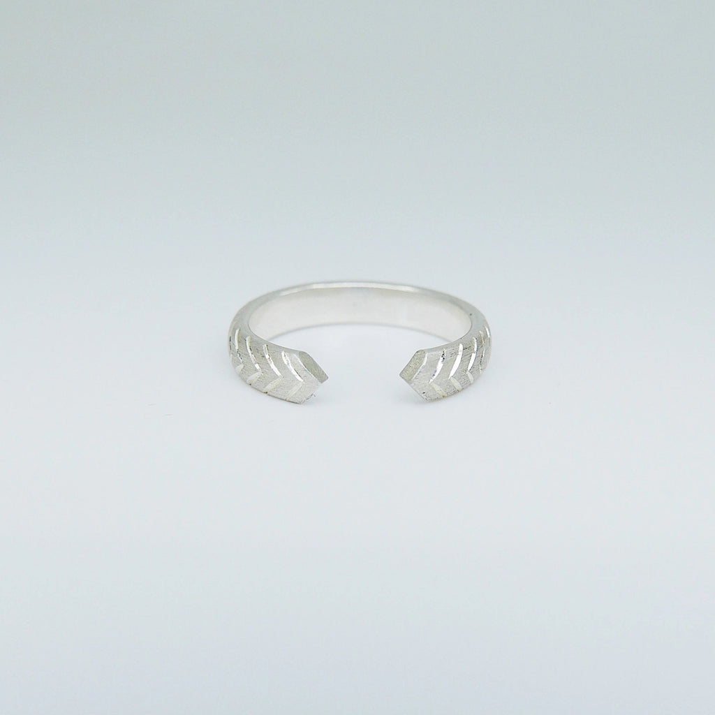 Hand Engraved Sterling Silver Open Cuff Ring, Arrow Ring, Pointed Cuff Ring, Thick Band Ring, Thick Engraved Sterling Silver Ring