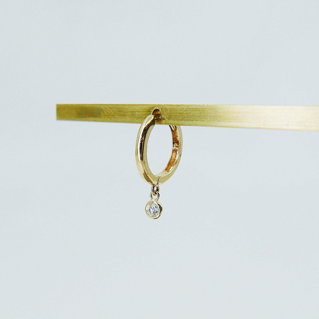 Medium Diamond Charm hoop, Medium 14k gold diamond hoop, Medium gold hoop, gold hoops, diamond hoop earrings, single bezel diamond hoop