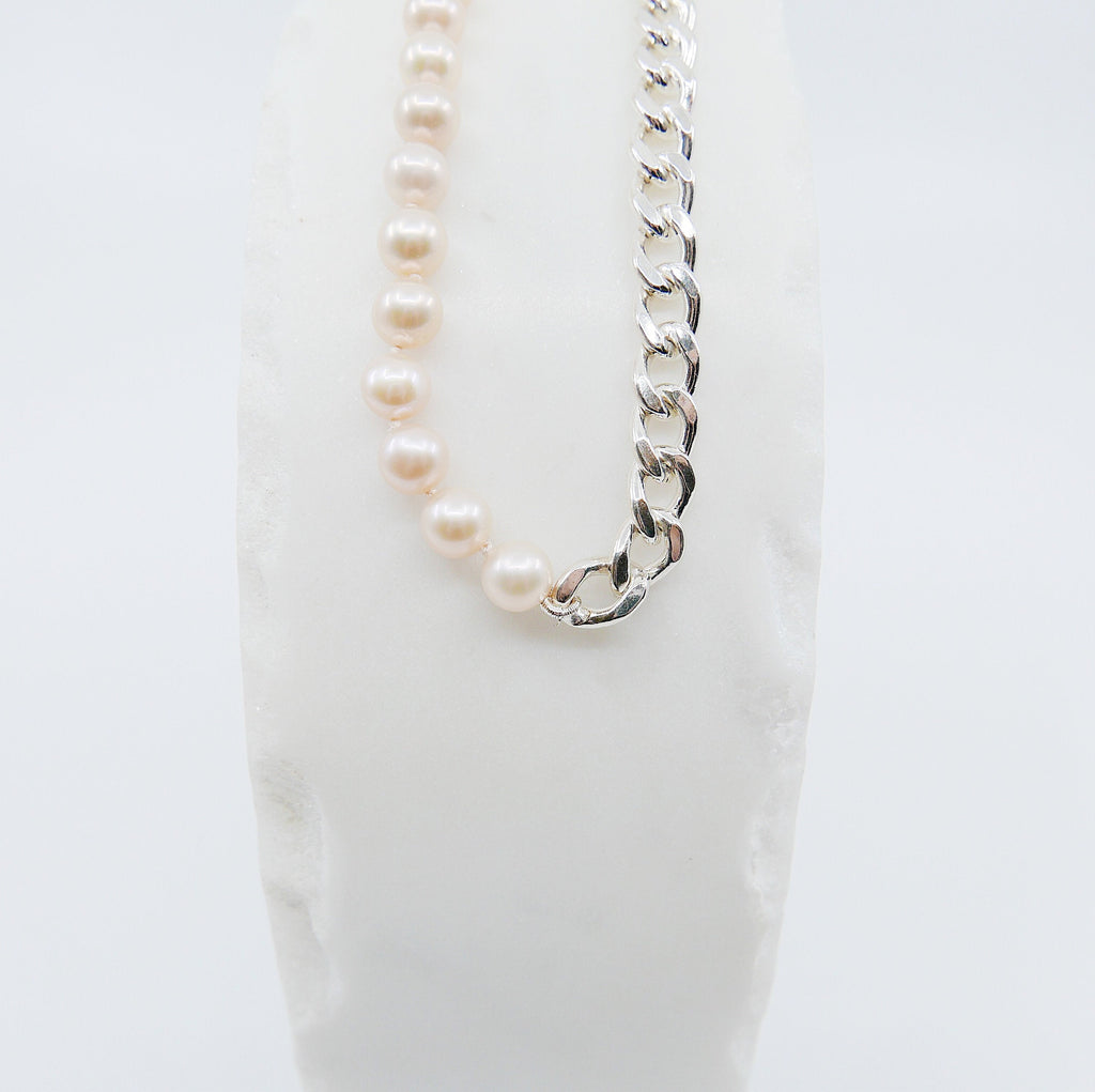 Split personality curb chain choker, pearl and chain Toggle Choker, sterling silver curb chain and pearl choker, heavy chain choker