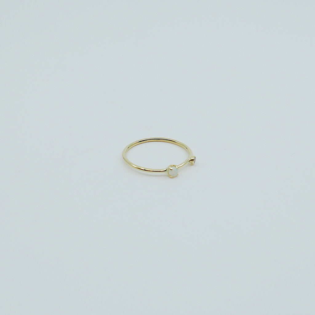 Opal Duet Ring (Small), 14k Diamond and opal Ring, Mini opal Ring, Two Stone Band, Stacking Bands, Stacking Rings, 14k Gold Band