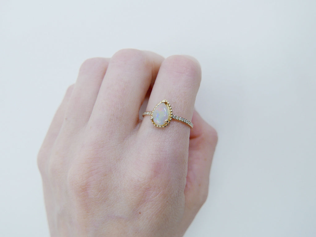 Ava Diamond Opal Ring, rainbow Opal halo ring, gold solitaire ring, pear opal ring, 14k gold opal prong engagement ring, opal halo ring