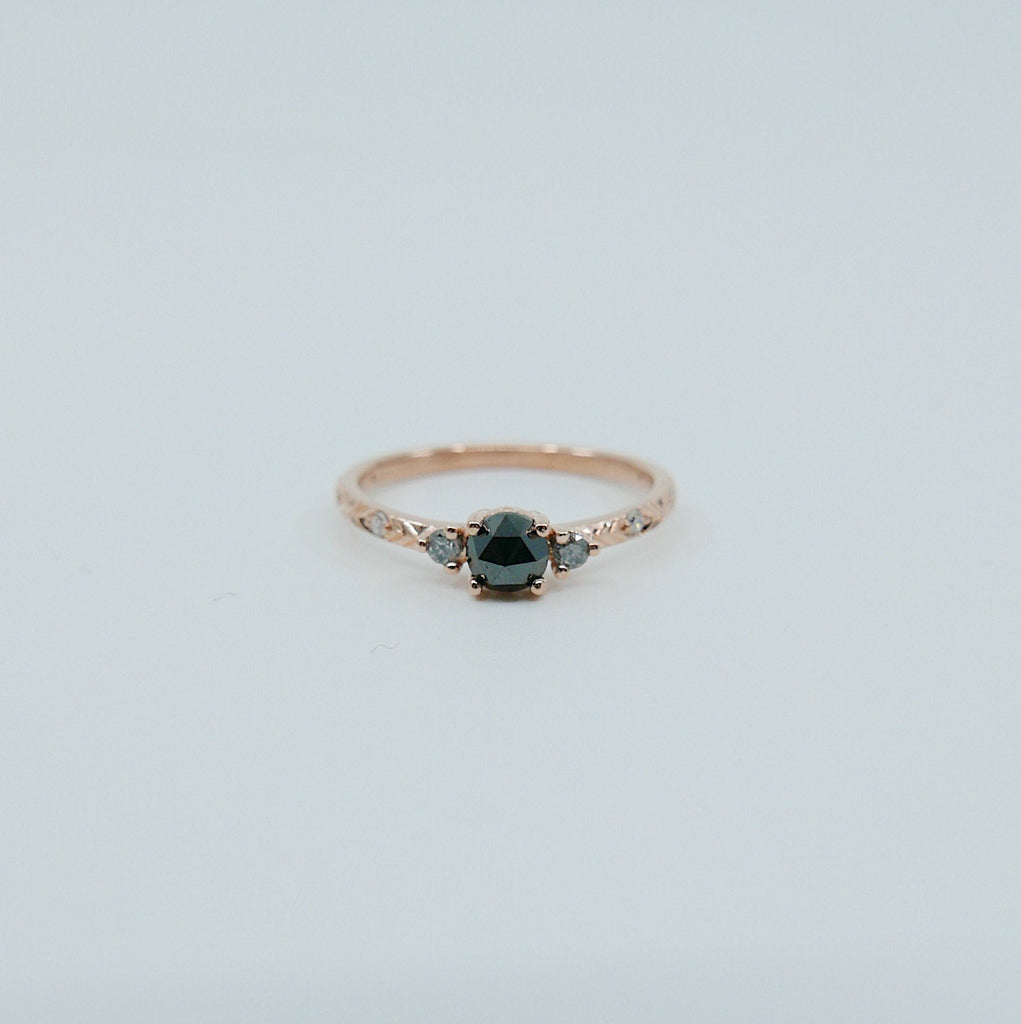 Clara Rose Cut Black Diamond Ring, alternative wedding ring, unique non traditional engagement ring, 14k stacking ring, white & grey diamond