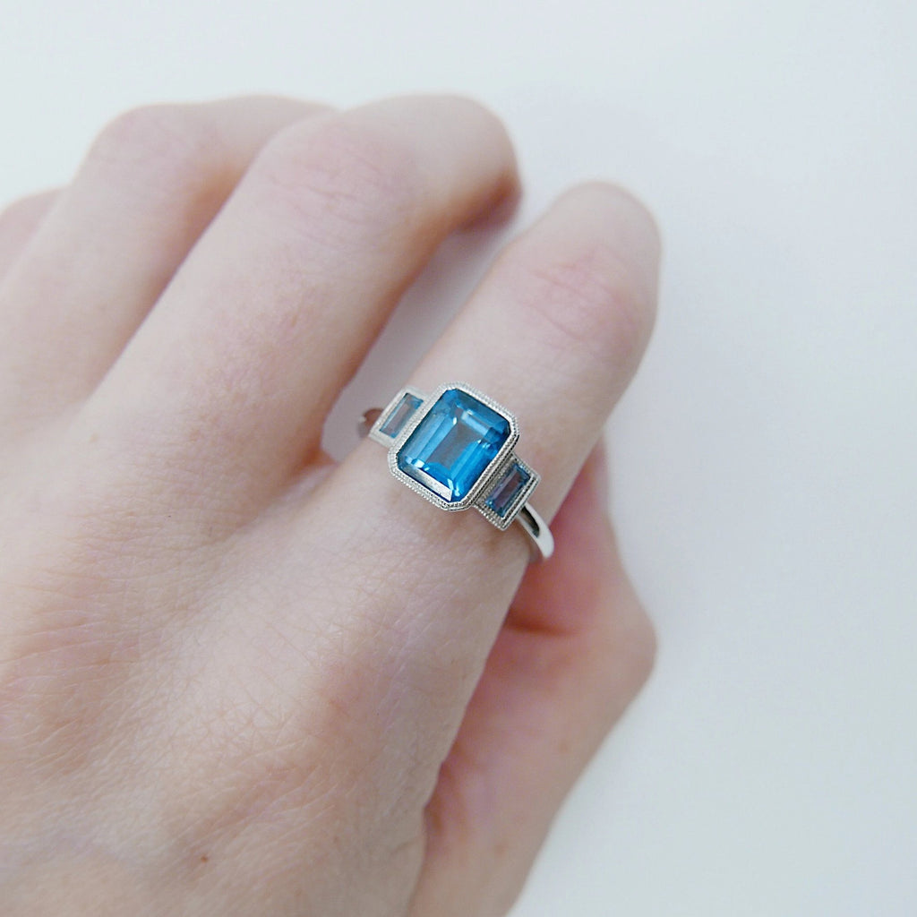 Charlotte Three Stone Ring, emerald cut ring, london blue topaz ring, blue stone wedding ring, classic engagement ring, aquamarine ring