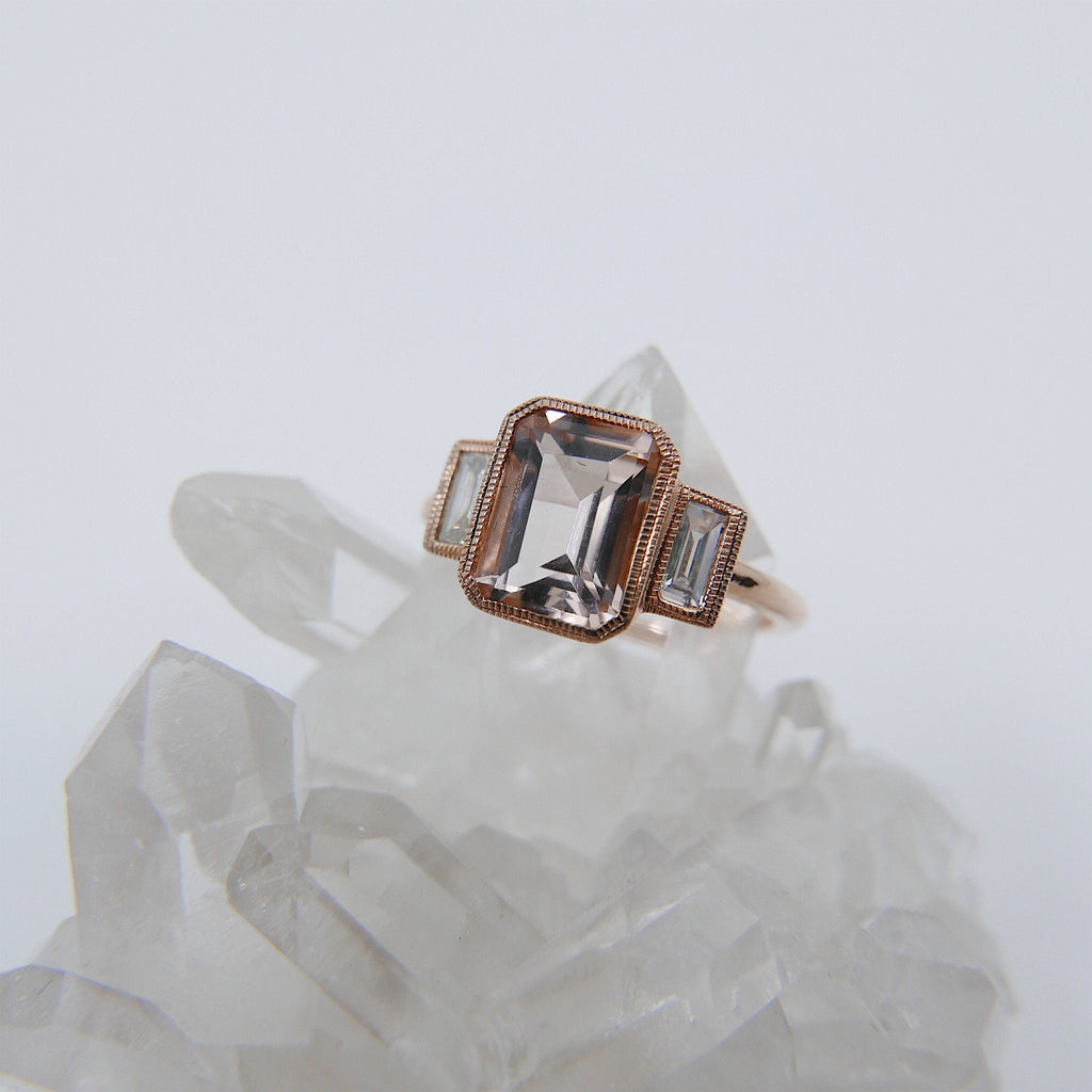 Charlotte Three Stone Ring, Morganite emerald cut ring, Morganite and diamond ring, Pink beryl stone wedding ring, classic engagement ring