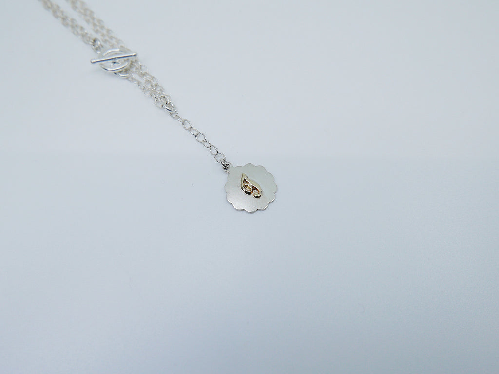 Initial Double Chain Lariat Necklace, Sterling Silver and 14k Gold Disc, Personalized necklace, Initial necklace, Initial lariat necklace