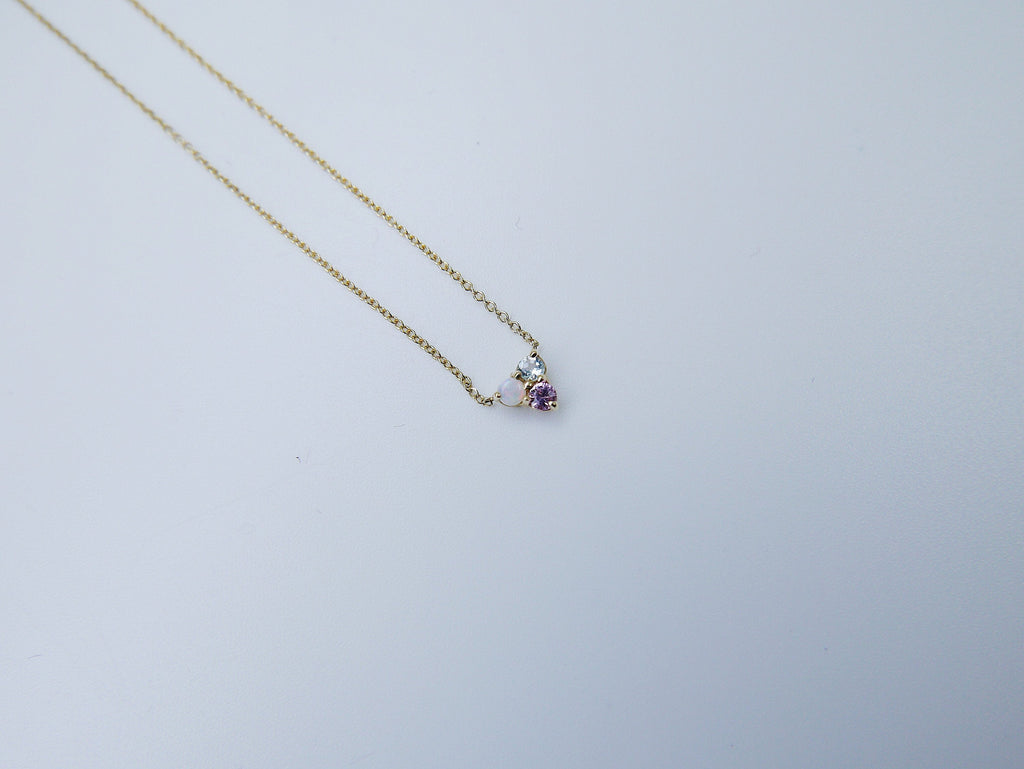 Trinity charm necklace, small 14k gold opal necklace, small gold necklace, Aquamarine necklace, Pink sapphire necklace