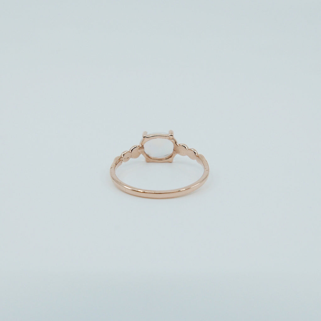 Ellipsis Oval Moonstone ring, three stone ring, Moonstone and diamond ring, 14k gold Moonstone ring