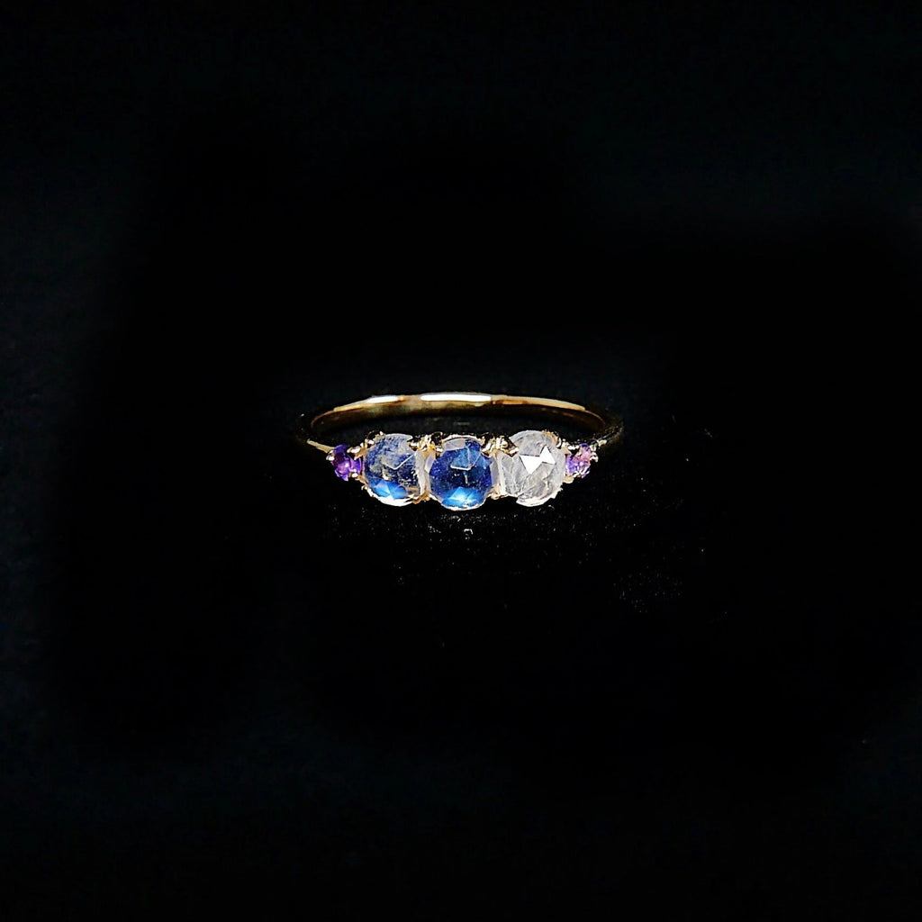 Hailey Rose Cut Moonstone Five Stone Ring, 5 stone band, Moonstone and Amethyst ring, 14k gold glowing stone ring, five stone ring