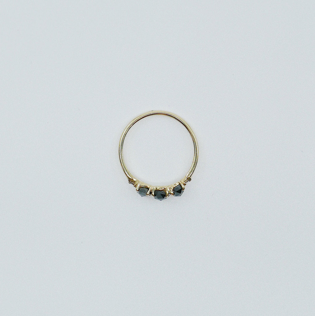 Hailey Rose Cut Black Diamond Five Stone Ring, 5 stone band, Black Diamond ring, 14k gold stone ring, five stone ring, rose cut ring