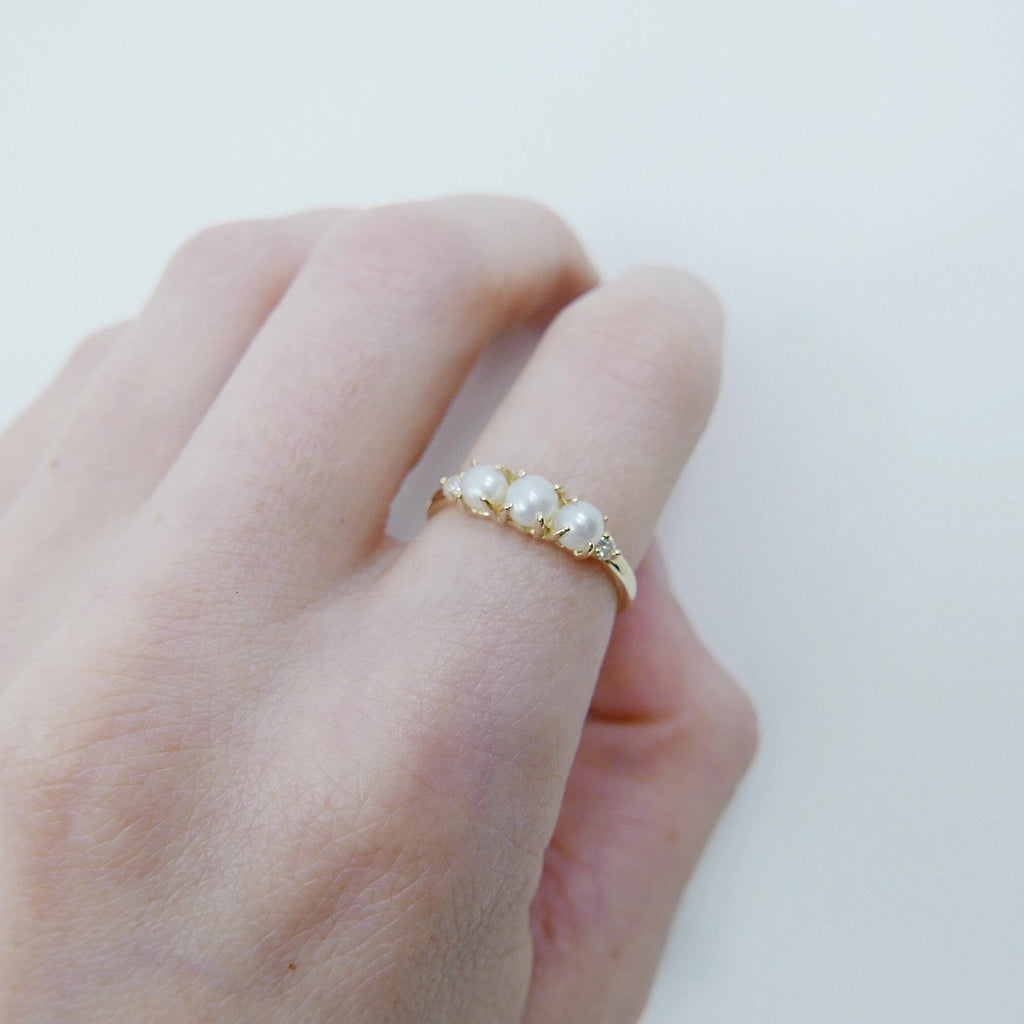 Hailey Pearl Five Stone Ring, 5 stone band, Pearl and Diamond ring, 14k gold stone ring, five stone ring, pearl ring, diamond ring