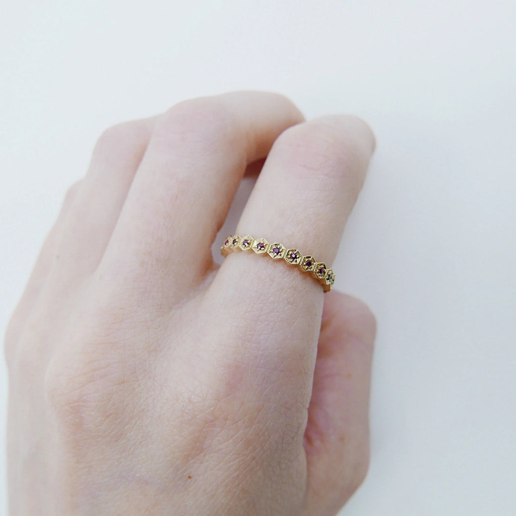 Hexagon Ruby Eternity Band, stacking band, wedding band, gold infinity Geometric ring with rubies, ruby infinity band, ruby wedding band