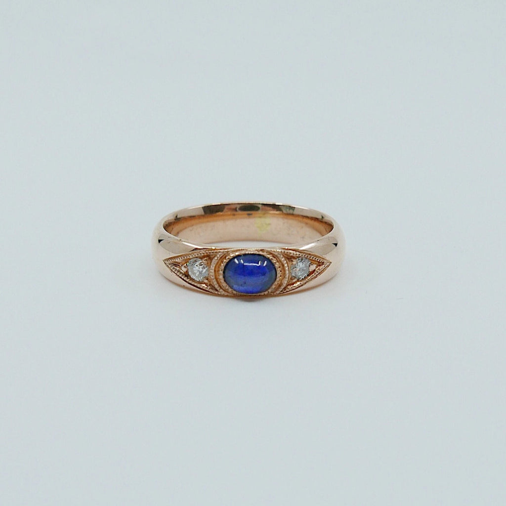 Indira Band, Blue Sapphire diamond band, thick gold band, Blue Sapphire cabochon wedding band, 3 stone band, sapphire and diamond gypsy ring