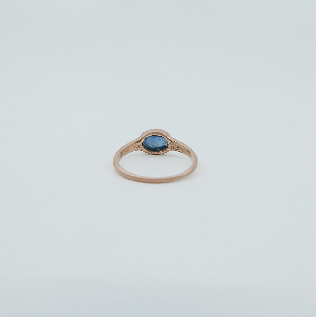 Sapphire signet ring, sapphire cabochon ring, oval sapphire and diamond ring, 14k gold bold sapphire ring, oval bezel sapphire band