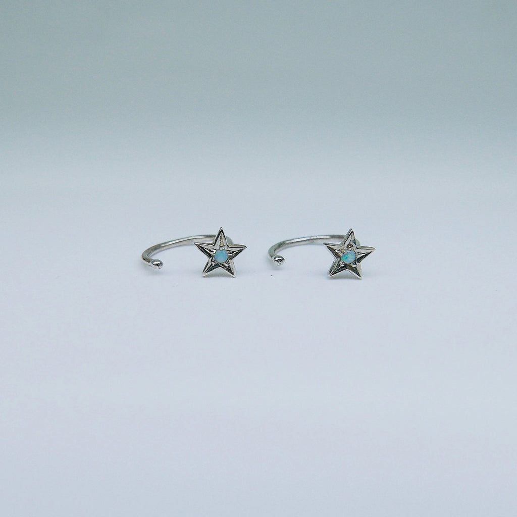 Opal Star Hook Earrings, star earrings, star hook, opal open hoop, opal hook earring, opal star earring, sterling silver cuff hook