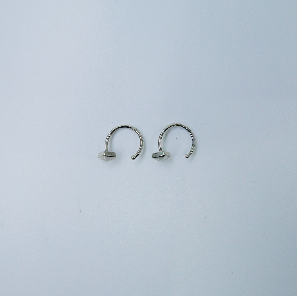 Stud Hook Earrings, stud earrings, stud hook, stud open hoop, stud hook earring, sterling silver stud earring, sterling silver cuff hook