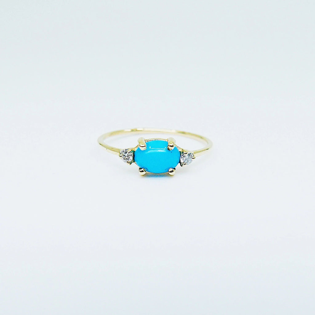 SALE! Oval turquoise ring, three stone ring, turquoise and diamond ring, 14k gold turquoise ring