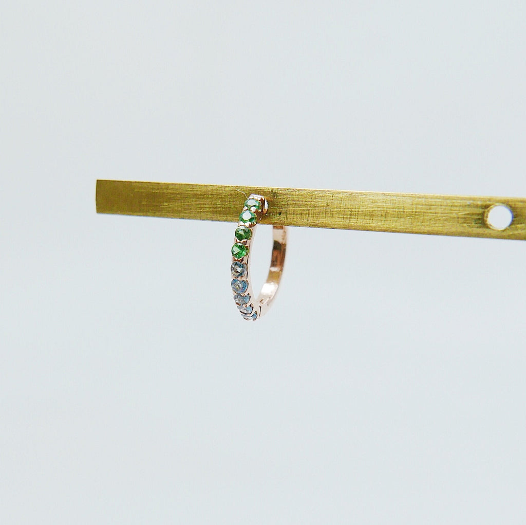 Mini Bi-Color Hoop Earring, Tsavorite and Aquamarine Hoop Earring, Green and Blue Hoop Earring, Bi-Color Hoop Earring