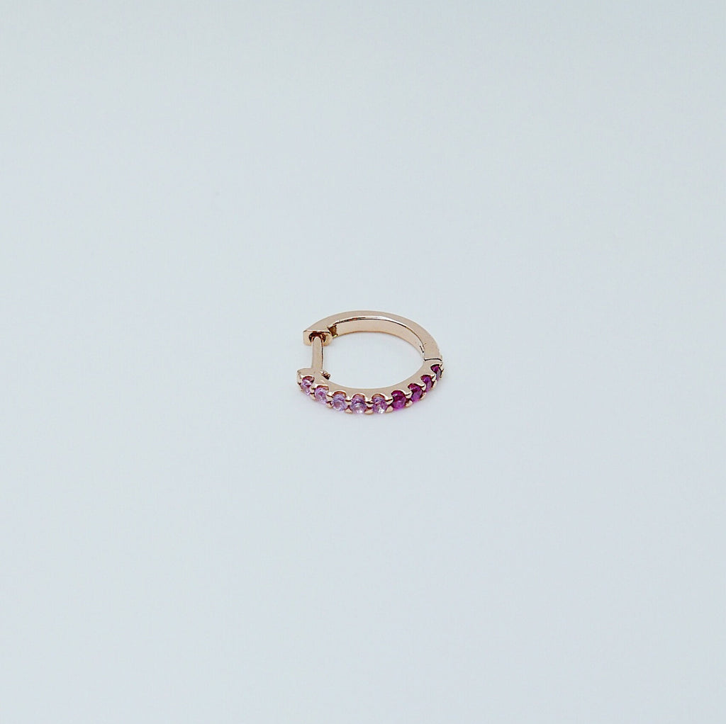 Mini Bi-Color Hoop Earring, Pink Sapphire and Ruby Hoop Earring, Pink Hoop Earring, Bi-Color Hoop Earring, Two Tone Pink Hoop Earring