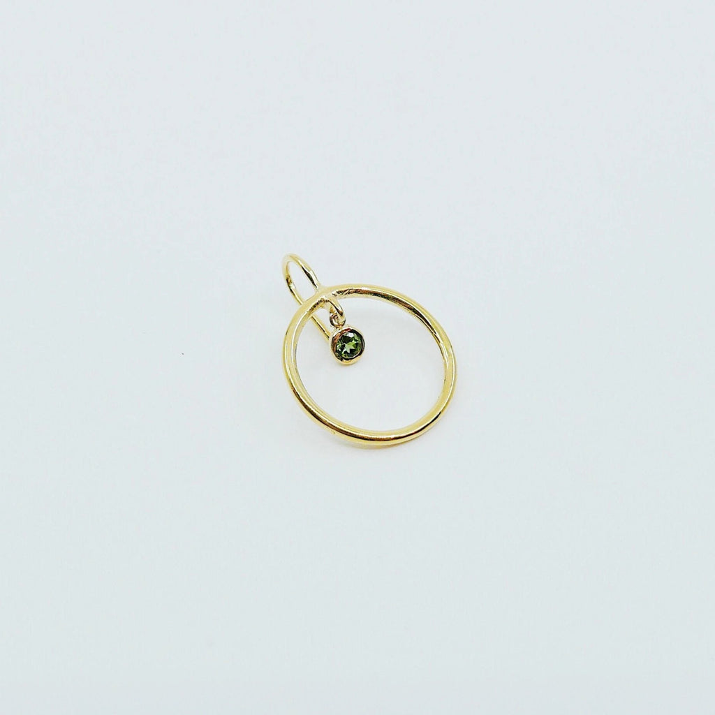 Open Hoop Green Tourmaline Earring, Open Hoop 14k Gold Earring, Tourmaline Hoop, Fish Hook Open Hoop Earring