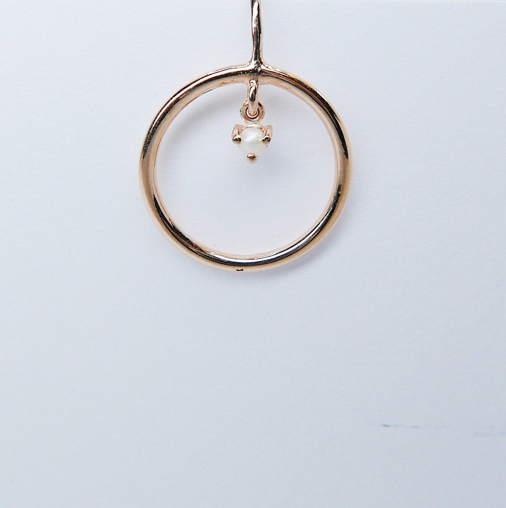 Open Hoop Pearl Set Earring, Open Hoop 14k Gold Earring, Pearl Hoop, Fish Hook Open Hoop Earring