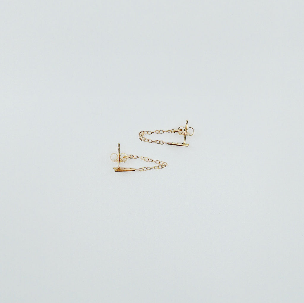 Ribbon Chained Earrings, Diamond Chained Earrings, Emerald Chained Earrings, 14k Gold chain earrings, Gold Chained earrings