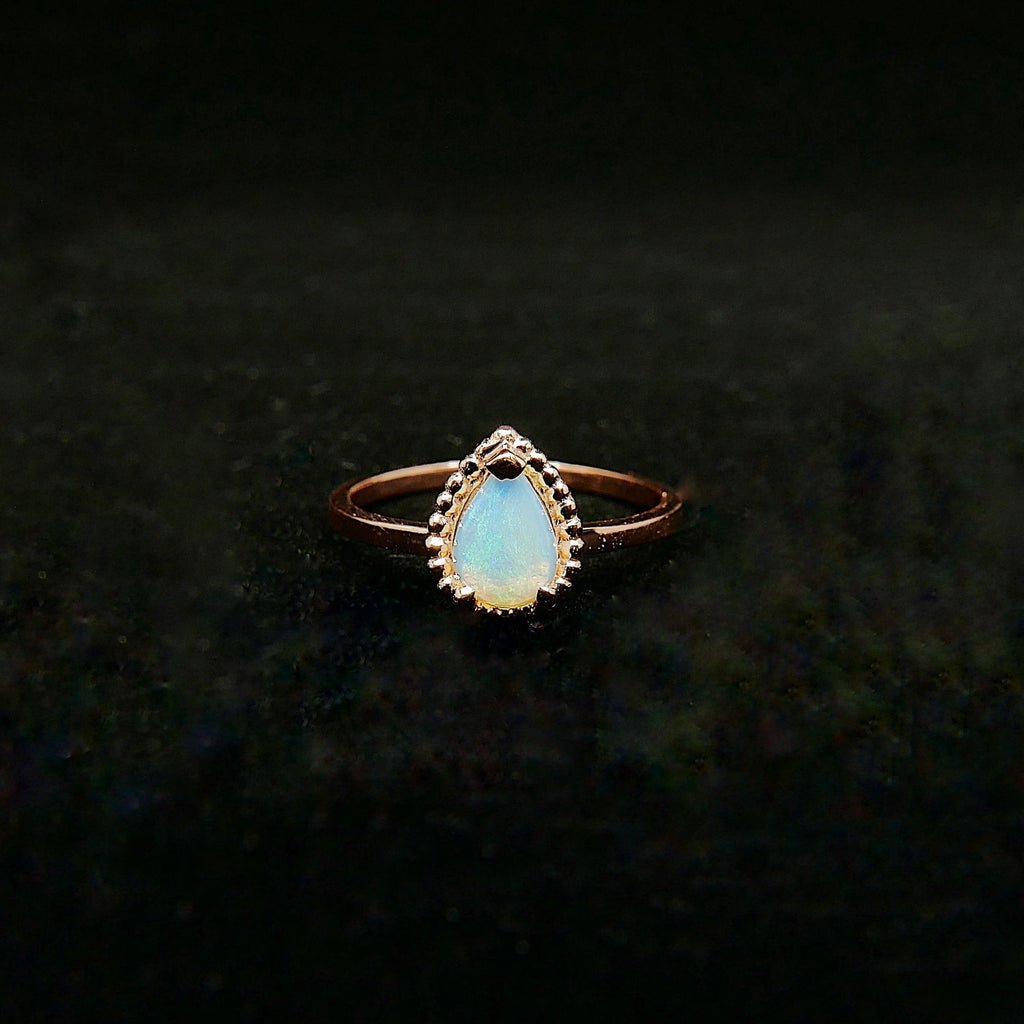 Ava Opal Ring, rainbow Opal halo ring, gold solitaire ring, pear opal ring, 14k gold opal prong engagement ring, opal halo ring
