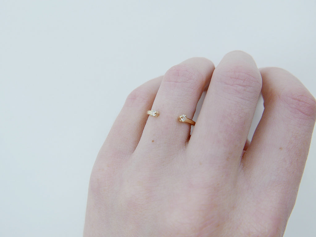 Mini diamond cuff Ring, open diamond Stacking ring, Simple diamond ring, diamond open band, small diamond cuff ring, dainty gold band