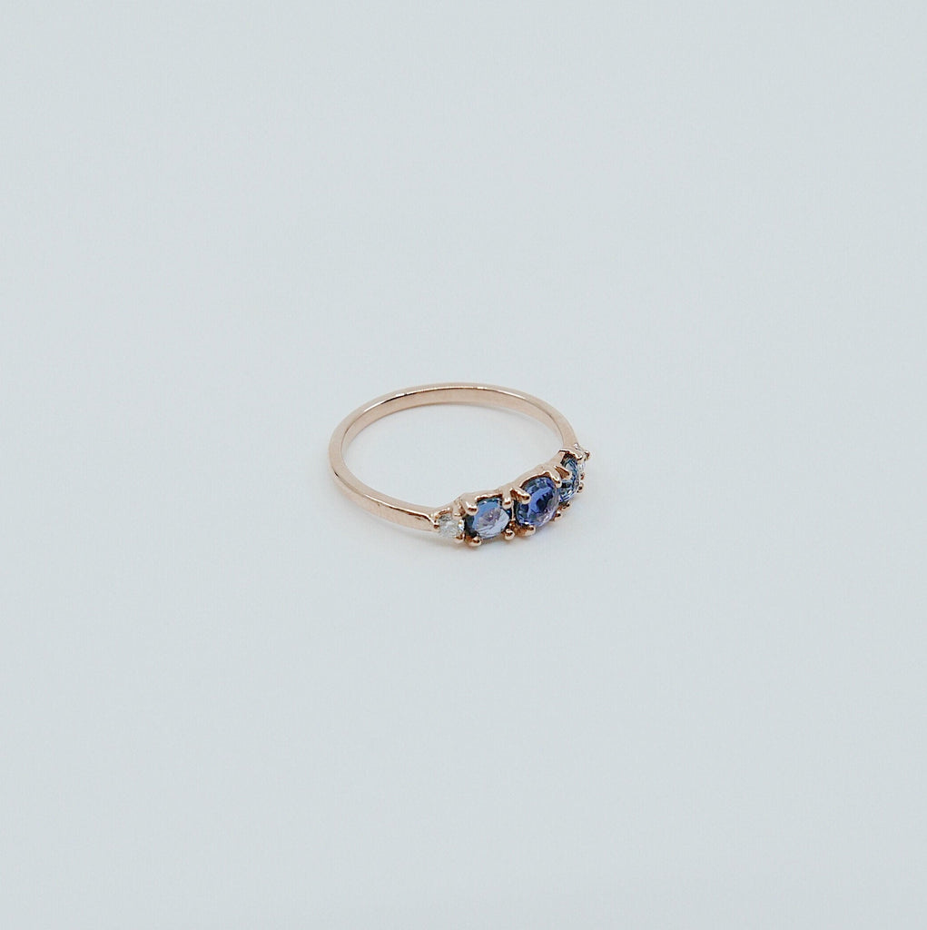 Hailey Sapphire and Diamond five stone ring, 5 stone band, rose cut Sapphire and diamond ring, 14k gold stone ring, five stone ring